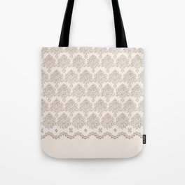 "Damask ""Cafe au Lait"" Chenille with Lacy Edge Tote Bag"