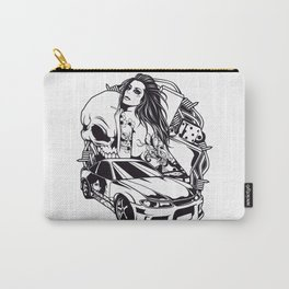 Tattoo GIRL with SKULL AND CAR - Snake Carry-All Pouch