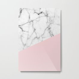 Real White Marble Half Powder Blush Pink Metal Print