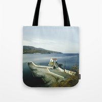 greek Tote Bags featuring Greek landscape by MarioGuti