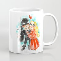 princess bride Mugs featuring Princess Bride Hug by Super Group Hugs