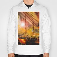 ships Hoodies featuring Sailing ships sunset by Walter Zettl