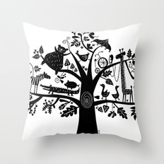 :) animals on tree Throw Pillow