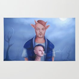 Demon Couple in The Haunted Forest Rug