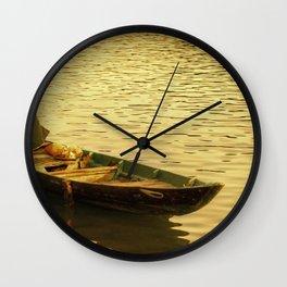 Vietnamese Boat at Sunset Wall Clock