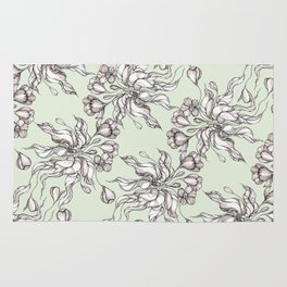 Vintage floral seamless pattern with hand drawn flowering crocus Rug