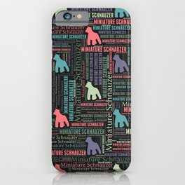 Miniature Schnauzer silhouette and word art pattern iPhone Case