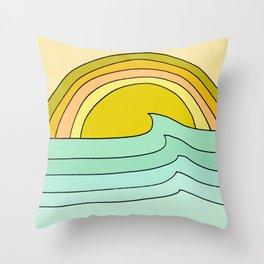 ride rainbows // retro surf soul // art by surfy birdy Throw Pillow