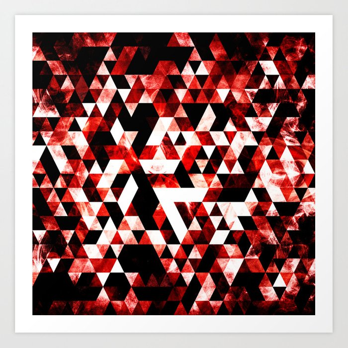 Triangle Geometric Vibrant Red Smoky Galaxy Art Print