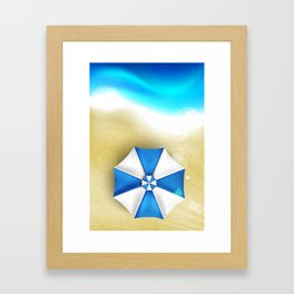 Couple of umbrellas on the beach, graphic art Framed Art Print
