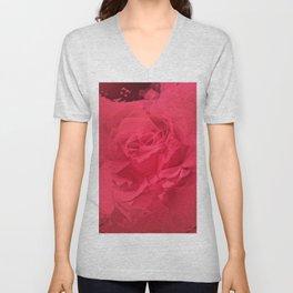 Bloomed Rose Vibrant Pink Unisex V-Neck