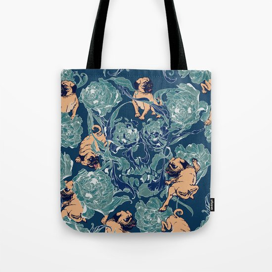 Climbing Pug & Floral Tote Bag