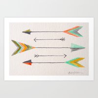arrows Art Prints featuring Arrows by Hayley Lang