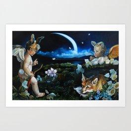 Midsummer's Night Fox Hunt Art Print