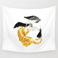 crane Wall Tapestries featuring Tiger & Crane by krls