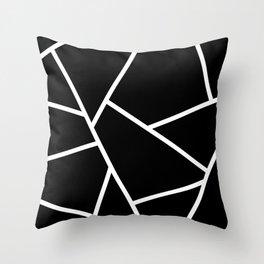 Black and White Fragments - Geometric Design II Throw Pillow