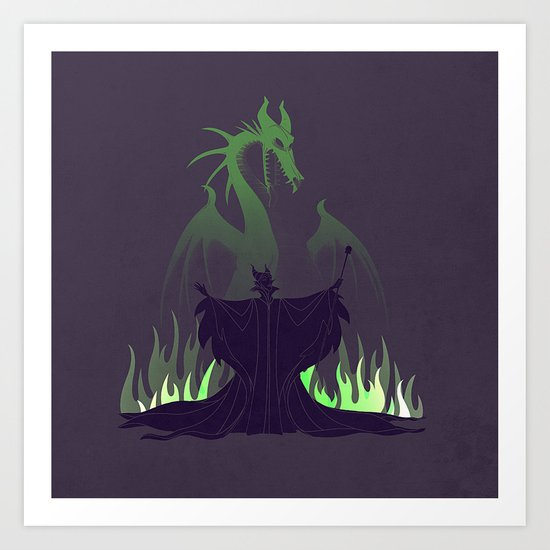 the girl with the dragon temper Art Print