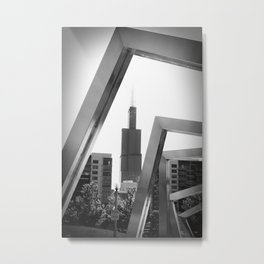 Sears Tower Sculpture Chicago Illinois Black and White Photo Metal Print