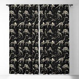 Dinosaur Fossils on Black Blackout Curtain