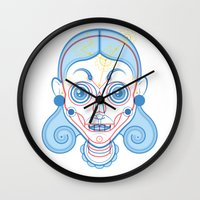 rare Wall Clocks featuring A Rare Girl by Ukko