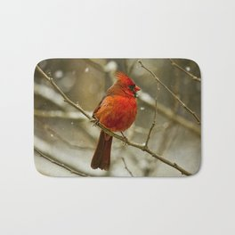 Wintry Cardinal Bath Mat
