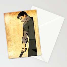 guy with gun Stationery Cards