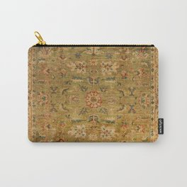 Persian 19th Century Authentic Colorful Muted Green Yellow Blue Vintage Patterns Carry-All Pouch