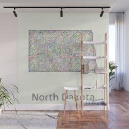 North Dakota map Wall Mural