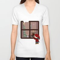 cabin V-neck T-shirts featuring Holiday Cabin by Cecily Cloud