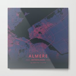Almere, Netherlands - Neon Metal Print