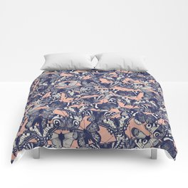 butterfly pale coral Comforters
