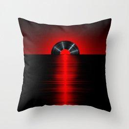 Vinyl sunset red Throw Pillow