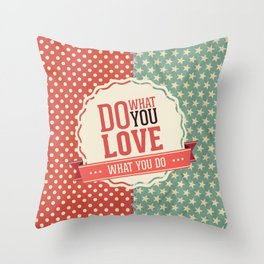Do what you love text quote red and blue dots and stars pattern Throw Pillow