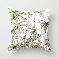 jungle Throw Pillows featuring Jungle by Annet Weelink Design