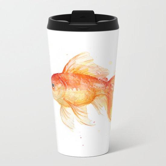 Goldfish Watercolor Fish Metal Travel Mug