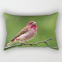 Finch in the Rain Rectangular Pillow