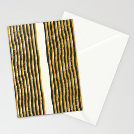 Zen Stripe Block Print Mustard Stationery Cards