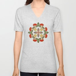 Fly Agaric Toadstool Forest Folkart, Red Fungi Mushroom Design with Trees Unisex V-Neck