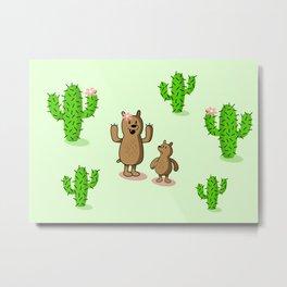 Cactus bear Metal Print