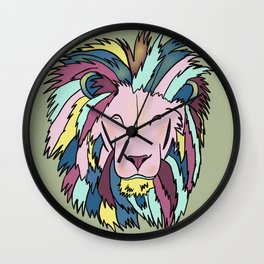 Lion Head King OF The Jungle In Teal, Pink, And Purple Pastels Wall Clock