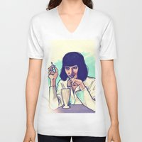 mia wallace V-neck T-shirts featuring Mia Wallace by ARTBYSKINGS