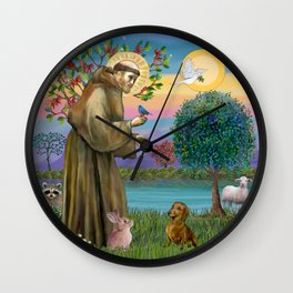 Saint Francis and Brown/Red Dachshund Wall Clock
