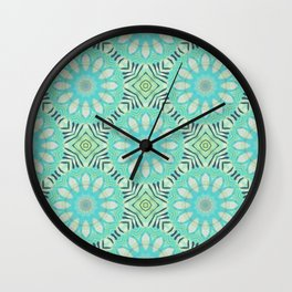 Cream And Turquoise Flowers Wall Clock