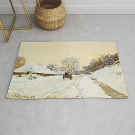 Claude Monet Impressionist Landscape Oil Painting A Cart on the Snowy Road at Honfleur Rug