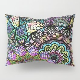 Colorful Floral Mandala Pattern with Geometric Drawings Pillow Sham