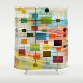 Mid-Century Modern Art 1.3 -  Graffiti Style Shower Curtain