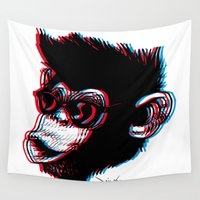 ape Wall Tapestries featuring 3D Ape by Nioko