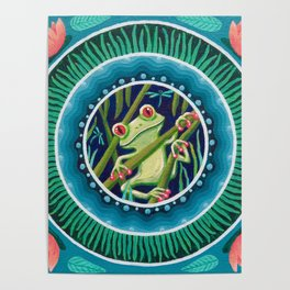 Green Tree Frog Mandala Poster