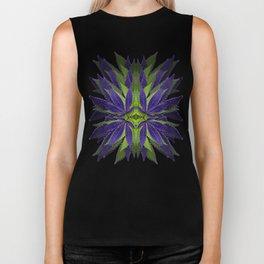 Marijuana Leaves Ultra Violet Pattern Biker Tank