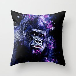 gorilla monkey face expression wscb Throw Pillow